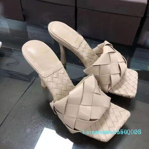 Fashion luxury designer women high heels Square toe Sandal LIDO SANDALS IN NAPPA designer sliders Weave sliders Wedding women pumps k08