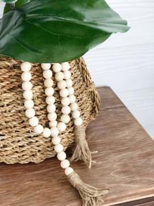 Home Decor Hänge Natürliche Holz-Quaste Perlenkette Kette handgemachte hölzernes Bauernhaus-Dekoration-Korn mit Quaste Hanfseil