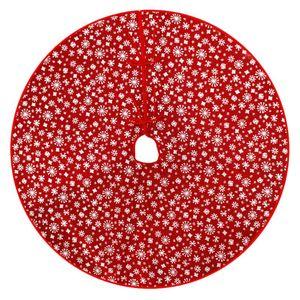 1PC Christmas Tree Skirt Xmas Tree Ornament Red Xmas Apron Dress Christmas Party Decor for Mall Home