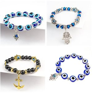 New Retro Silver Multicolor Evil Eye Bracelets Kabbalah Hand Charms Bangles Bead Bracelet Fashion Jewelry Bijoux for Women