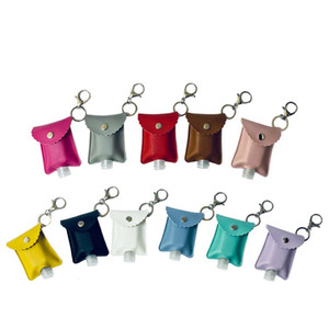 Hand Sanitizer Keychain 30ml Sanitizer Leather Keychain Portable Empty Leakproof Plastic Travel Bottle Holder Refillable Carriers DDA458