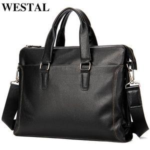 WESTAL Men's Bag Genuine Leather Men Briefcase Business Leather Messenger Bags Mens Laptop Bag For Documents Free Engraved 7400