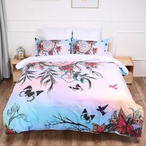 Schmetterlings-Traumfänger Bettwäsche Set einfache Bettbezug Queen-Größen Heimtextilien 3pcs Dropship Großhandel