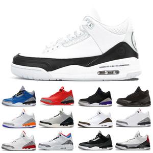 Fragment x Nike Air Jordan Retro 3 3s Varsity Kraliyet Erkekler Basketbol Ayakkabı Kot Ateş Kırmızı Varsity Kırmızı Animal 2.0 beyaz çimento Spor Tasarımcı spor ayakkabıları mens