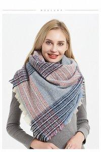 Мягких Женщины Plaid шарф Мода зима теплая полиэстер Двухсторонней цветной квадрат шарф шарфы Женской Классический Lattice Шаль Одеяло W q2vH #