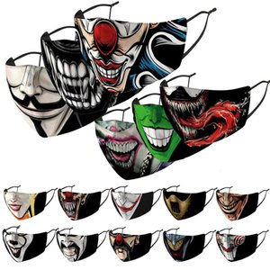 pagliaccio maschera faccia faccia stilista maschere stampate maschera antipolvere e antivento haze sostituibile PM2.5 maschera lavaggio filtro