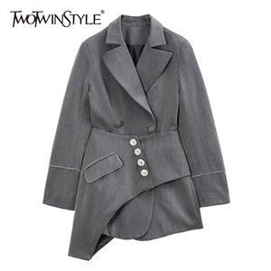 TWOTWINSTYLE Vintage Two Piece Set For Women Notched Long Sleeve Blazer High Waist Irregular Skirt Slim Suit Female 2020 New