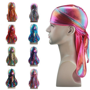 new Men's Colorful Sparkly Durags Turban Bandanas Headwear Headband Hair Cover Accessories Wave Caps Pirate headscarf T2C5271