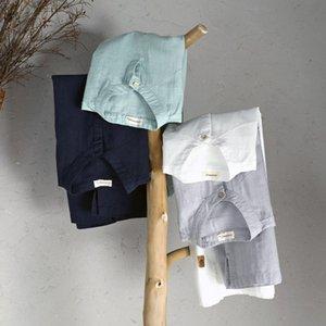 Schinteon 남성 캐주얼 코튼 리넨 셔츠 여름 단색 얇은 짧은 소매 색상 200925 스탠드
