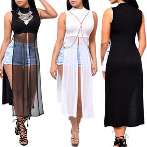 Пляж платье вскользь платье лето новых женщин Длинного Elegant Party Тонких рукава для девушек O-Neck Mesh Split платья Black