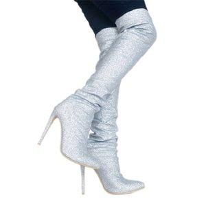 Mode Original Intention Cuissardes Talons Bottes Talons Slim Toe Shoes Pointu Argent Femme Taille Plus 4-15