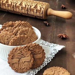 Embossage Rolling Pin Joyeux Noël Décorations Biscuits Biscuit Gâteau Fondant Pâte Gravé Rouleau Elk Moules de cuisson en bois GGA3680-1