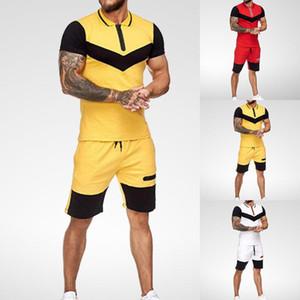Set da uomo Brevi Summer Casual Summer Abbigliamento 2 pezzi Set Colorblock Track Abiti 2020 Maglietta maschile + Pantaloncini da uomo in cotone
