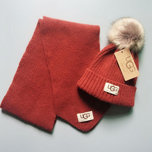 sombrero de la bufanda chico nuevo traje traje de sombrero de la bufanda carta bufanda del sombrero del bebé del bebé de la marca de moda 2 piezas chicas 2021 de los niños de invierno