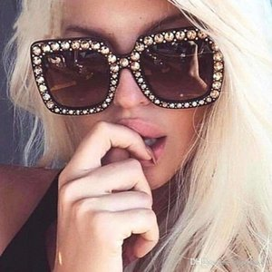 New alta qualidade Designer de Luxo Rhinestone Óculos Moda Mulheres extragrandes Praça Sunglasses Retro Bling Sun Óculos Locs Sunglass XyML #