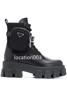 Prada 2020 고품질의 새로운 여성 신발 증가 추세 마틴 부츠 핸드백 장식 오토바이 발목 부츠 가죽 섹시한 부츠 고무 밑창