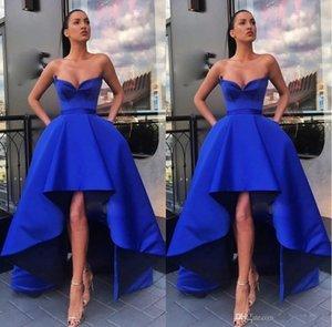 Disegno sexy celebrità Sweetheart abiti unici Royal Blue Alto Basso Una linea senza maniche vestito da sera lungo abiti vesti de soiree
