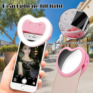 3 em 1 LED selfie anel luz para telefones Maquiagem Espelho Phone Holder Clip-On Lamp Mulheres menina da noite Escuridão selfie Enhancing Luzes de preenchimento