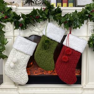 Bas de Noël 16 pouces de grande taille Étoffes de Noël Stocking Décorations famille Fêtes Décor Rouge Vert Blanc JK2008PH