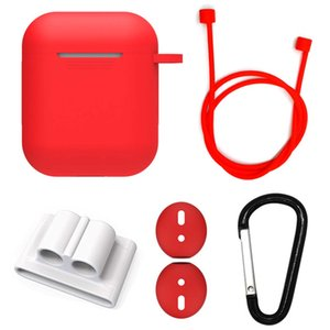 5 IN 1 Cases silicone Protector Sleeve Cover for Apple Airpods Headphone Set with Anti-lost Strap Portable Headset Box Buckle Earhooks