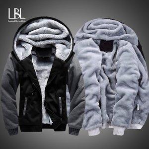 Зима Толстых Толстовки Мужчина Zipper Hooded Coat Brand Мужских костюмы Толстовка заплатка куртка Теплого размер US / EUR Plus руна Hoody
