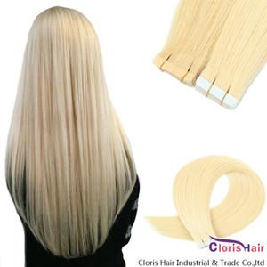 # 60 Platinum rubançon blonde dans des extensions de cheveux humains sans soudure PU Skin Theft Droit Brésilien Remy Cheveux 20pcs Ruban adhésif double face sur
