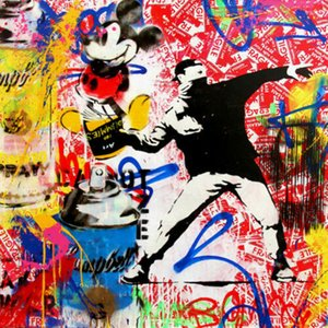 Mr Brainwash Banksy Flower Thrower Home Decor Handcrafts  HD Print Oil Painting On Canvas Wall Art Canvas Pictures 200808