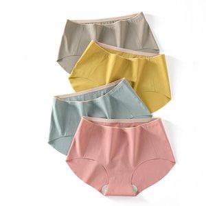 Sexy Woman Panties Ice Silk Cotton New Slip sans couture Sous-vêtements en soie Mulberry antibactériennes Underpants Dropshipping 3 pièces / set