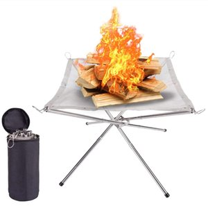 Foldable Portable Campfire Rack Outdoor Camping Burning Rack Fireplace Fire Pit Bonfire Barbecue Camping Incineration
