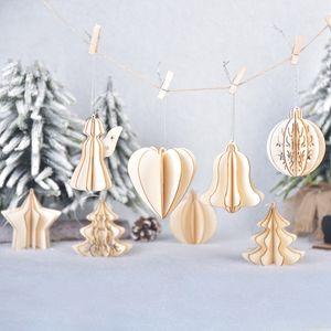 Noel ahşap üç boyutlu DIY montaj kolye ahşap beş köşeli yıldız yaratıcı Noel top T3I51198 dekorasyonlar