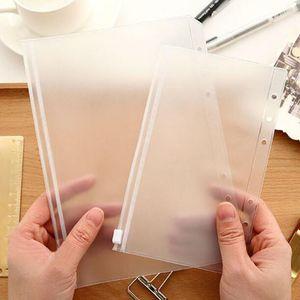 A5 / A6 / A7 transparente Carpeta de PVC cremallera bolsa de almacenamiento de 6 hoyos a prueba de agua papelería Tarjeta Bills Bolsas Bolsas de viaje Oficina de documento portátil Saco