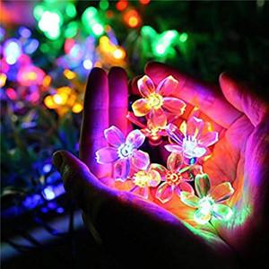 LED 복숭아 사쿠라 태양 빛 문자열 할로윈 크리스마스 20/30 LED 라이트 가든 야드 홈 장식 문자열 EWD756 강화