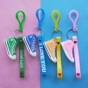 Candy Colorful Keyring Love Letter Silicone Leather Rope Heart Shaped keychain Women Men Couple Gift Bag Key Silicone Candy Key Chain