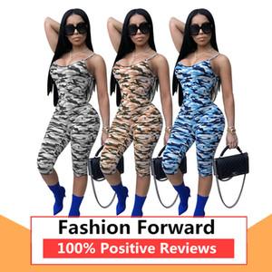 2020 Bayan Moda Kısa Tulumlar Yaz Yeni Tek Parça Casual Kamuflaj sapanlar Sling Sıkı Kadın Tulumlar