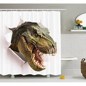 Vixm Dinosaur Shower Curtain Lágrimas Dinossauro perigoso até a parede Papel imagem assustadora Cenário quebra Tecido Bath Cortinas