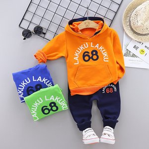 Infantil Kids Clothes Baby Boys Costume 68 Letter Tracksuit Hooded Tops Pants 2PCS Children Clothing Set fall Boys Outfits girls