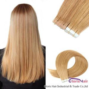 Yapıştırıcı Görünmez Uzantıları 20pcs Işık Blonde Dikişsiz Brezilyalı Remy Düz Saç In # 16 PU Deri Atkı Doğal İnsan Saç Bandı