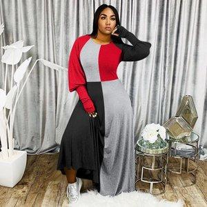 Progettista delle donne abito manica lunga Moda Panelled contrasto di colore dei vestiti casuali sexy maxi Abbigliamento Donna