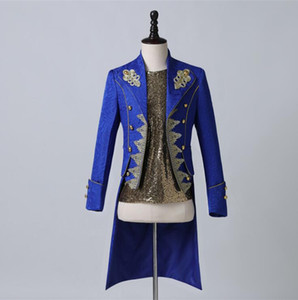 Blue blazer men suits Palace prince golden long embroidery jacket mens stage costumes singers clothes dance star style dress bai84