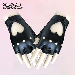 WarBLade Women Leather Gloves Fashion Fingerless Star Hollow Gloves Party Show Breathable Half Finger Mittens Women moto