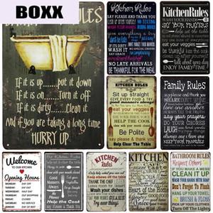 Kitchen Rules placca in metallo Vintage Bagno Segno Regole metallo Regole Famiglia Targa in metallo da cucina di apertura hoers metallo poster