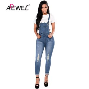 ADEWEL Dark Blue Denim Distressed Overalls Ripped Stretch Hohe Taille Lange Bleistift-Hosen-Spielanzug-Overall-Blue Jeans Overall