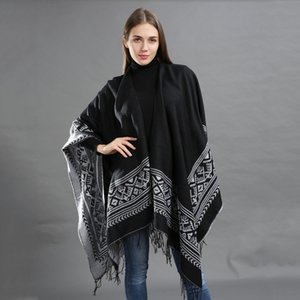Autumn and Cloak cloak Winter new split Cape high quality acrylic Street Cape large size thick loose y9Ug1