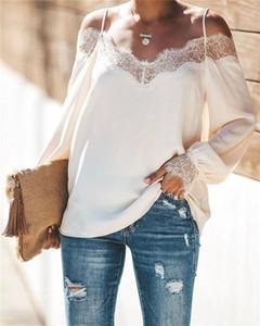 Tshirts Seksi Boyun Kasetli Bayan Uzun Kollu Tişörtler Casual Bayan Yaz Giyim Dantel Bayan Designer Firar Slash