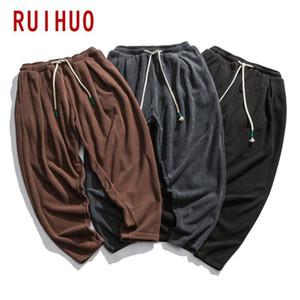 Pantaloni RUIHUO uomini del vello Streetwear Harem Pantaloni Uomo Abbigliamento Uomo Pantaloni Harajuku Jogger Pantaloni 5XL 2020 Autunno Nuovo