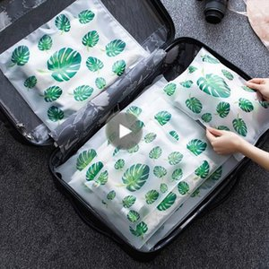 Fashion Transparent Plant Cosmetic Bag Travel Makeup Case Women Zipper Make Up Handbag Organizer Storage Pouch Toiletry Wash