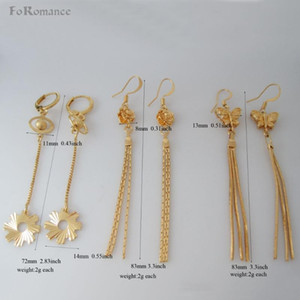 "ORDER 10 $ تحصل على تتبع INFO مع يتعقب CODE THREE STYLES- YELLOW GOLD OVERLAY GEAR ROSE BUTTERFLY المتدلي 3.3 ""EARRING"