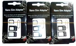 DHL libera il trasporto 1000set / Lot (1000set = 4000pcs) Noosy Nano SIM adattatore per iPhone 5 4 in 1 Da a micro Sim con la scatola di vendita al dettaglio