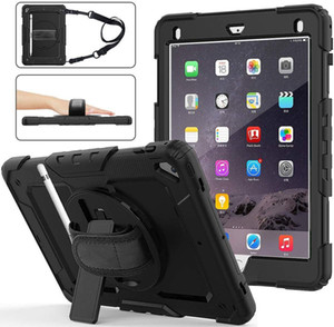 """tough armor cover Hand Strap Shoulder Strap 360 Rotatable Kickstand Protective Case for iPad 9.7"""" 2017 2018 iPad 6th 5th iPad air 2"""