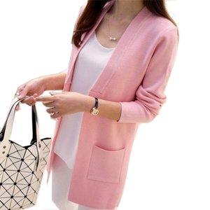 Maglione OLGITUM Le nuove donne della primavera / autunno Cardigan lungo sottile coreano tasca allentata magliata Outwear Coat